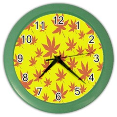 Autumn Background Color Wall Clocks by Nexatart