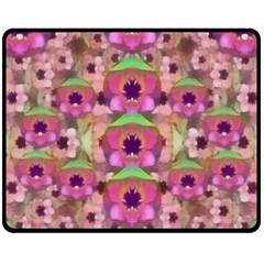 It Is Lotus In The Air Double Sided Fleece Blanket (medium)  by pepitasart
