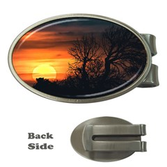 Sunset At Nature Landscape Money Clips (oval)  by dflcprints