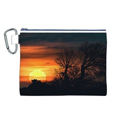 Sunset At Nature Landscape Canvas Cosmetic Bag (l) by dflcprints