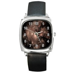 A Fractal Image In Shades Of Brown Square Metal Watch by Nexatart