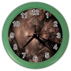 A Fractal Image In Shades Of Brown Color Wall Clocks by Nexatart