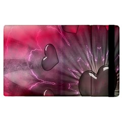 Love Hearth Background Wallpaper Apple Ipad 3/4 Flip Case by Nexatart
