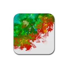 Digitally Painted Messy Paint Background Textur Rubber Coaster (square)  by Nexatart