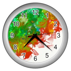 Digitally Painted Messy Paint Background Textur Wall Clocks (silver)  by Nexatart