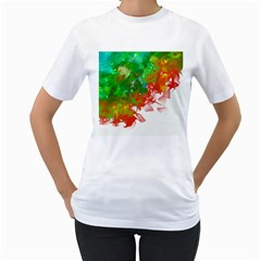 Digitally Painted Messy Paint Background Textur Women s T Shirt (white)  by Nexatart