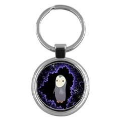 Fractal Image With Penguin Drawing Key Chains (round)  by Nexatart