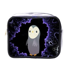 Fractal Image With Penguin Drawing Mini Toiletries Bags by Nexatart