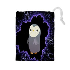 Fractal Image With Penguin Drawing Drawstring Pouches (large)  by Nexatart