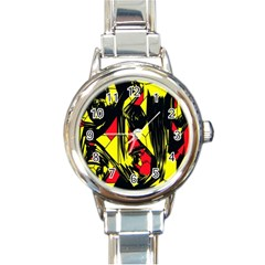 Easy Colors Abstract Pattern Round Italian Charm Watch by Nexatart