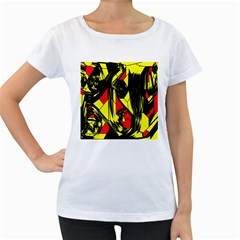 Easy Colors Abstract Pattern Women s Loose-Fit T-Shirt (White) by Nexatart