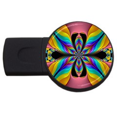 Fractal Butterfly Usb Flash Drive Round (2 Gb) by Nexatart