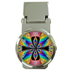 Fractal Butterfly Money Clip Watches by Nexatart