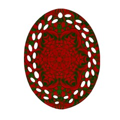 Christmas Kaleidoscope Oval Filigree Ornament (two Sides) by Nexatart