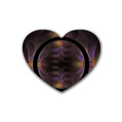 Wallpaper With Fractal Black Ring Rubber Coaster (heart)  by Nexatart