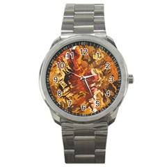 Abstraction Abstract Pattern Sport Metal Watch by Nexatart