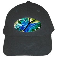 Blue Spotted Butterfly Art In Glass With White Spots Black Cap by Nexatart
