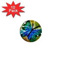 Blue Spotted Butterfly Art In Glass With White Spots 1  Mini Buttons (10 pack)  by Nexatart