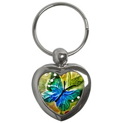 Blue Spotted Butterfly Art In Glass With White Spots Key Chains (heart)  by Nexatart