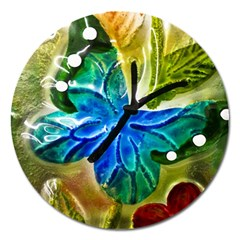 Blue Spotted Butterfly Art In Glass With White Spots Magnet 5  (round) by Nexatart