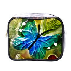 Blue Spotted Butterfly Art In Glass With White Spots Mini Toiletries Bags by Nexatart