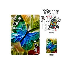 Blue Spotted Butterfly Art In Glass With White Spots Playing Cards 54 (mini)  by Nexatart