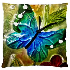 Blue Spotted Butterfly Art In Glass With White Spots Large Cushion Case (two Sides) by Nexatart