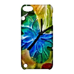 Blue Spotted Butterfly Art In Glass With White Spots Apple Ipod Touch 5 Hardshell Case With Stand by Nexatart
