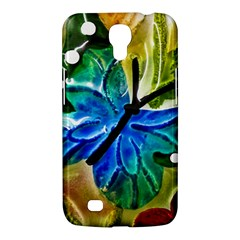 Blue Spotted Butterfly Art In Glass With White Spots Samsung Galaxy Mega 6 3  I9200 Hardshell Case by Nexatart