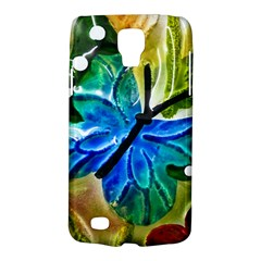 Blue Spotted Butterfly Art In Glass With White Spots Galaxy S4 Active by Nexatart