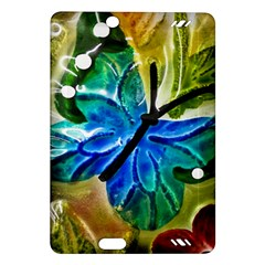 Blue Spotted Butterfly Art In Glass With White Spots Amazon Kindle Fire Hd (2013) Hardshell Case by Nexatart