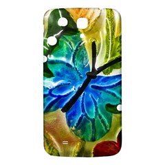 Blue Spotted Butterfly Art In Glass With White Spots Samsung Galaxy Mega I9200 Hardshell Back Case by Nexatart
