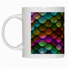 Fish Scales Pattern Background In Rainbow Colors Wallpaper White Mugs by Nexatart