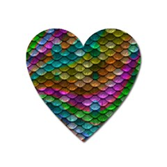 Fish Scales Pattern Background In Rainbow Colors Wallpaper Heart Magnet by Nexatart