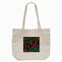 Fish Scales Pattern Background In Rainbow Colors Wallpaper Tote Bag (cream) by Nexatart