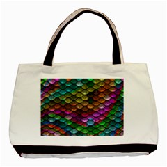 Fish Scales Pattern Background In Rainbow Colors Wallpaper Basic Tote Bag (two Sides) by Nexatart