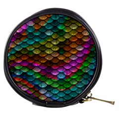 Fish Scales Pattern Background In Rainbow Colors Wallpaper Mini Makeup Bags by Nexatart