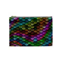 Fish Scales Pattern Background In Rainbow Colors Wallpaper Cosmetic Bag (medium)  by Nexatart