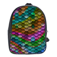 Fish Scales Pattern Background In Rainbow Colors Wallpaper School Bags(large)  by Nexatart