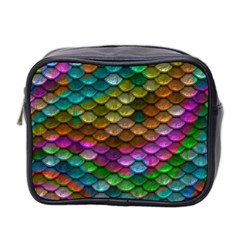 Fish Scales Pattern Background In Rainbow Colors Wallpaper Mini Toiletries Bag 2 Side by Nexatart