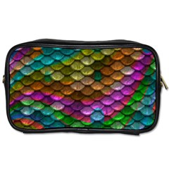 Fish Scales Pattern Background In Rainbow Colors Wallpaper Toiletries Bags by Nexatart