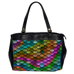 Fish Scales Pattern Background In Rainbow Colors Wallpaper Office Handbags (2 Sides)  by Nexatart