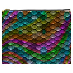 Fish Scales Pattern Background In Rainbow Colors Wallpaper Cosmetic Bag (xxxl)  by Nexatart