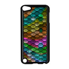 Fish Scales Pattern Background In Rainbow Colors Wallpaper Apple Ipod Touch 5 Case (black) by Nexatart
