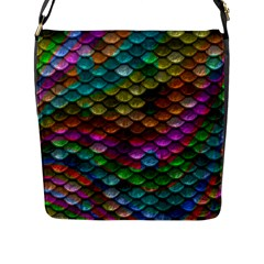 Fish Scales Pattern Background In Rainbow Colors Wallpaper Flap Messenger Bag (l)  by Nexatart