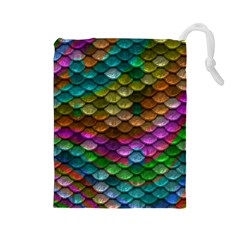 Fish Scales Pattern Background In Rainbow Colors Wallpaper Drawstring Pouches (large)  by Nexatart