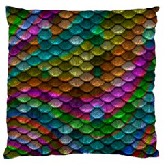 Fish Scales Pattern Background In Rainbow Colors Wallpaper Standard Flano Cushion Case (two Sides) by Nexatart