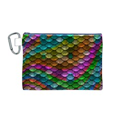 Fish Scales Pattern Background In Rainbow Colors Wallpaper Canvas Cosmetic Bag (m) by Nexatart