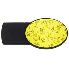 Flowery Yellow Fabric Usb Flash Drive Oval (2 Gb) by Nexatart