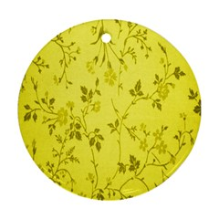 Flowery Yellow Fabric Round Ornament (two Sides) by Nexatart